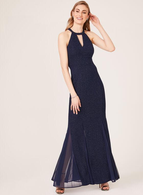 Mermaid Cleo Neck Dress, Blue, hi-res