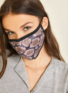 Snake Print Cotton Mask, Brown