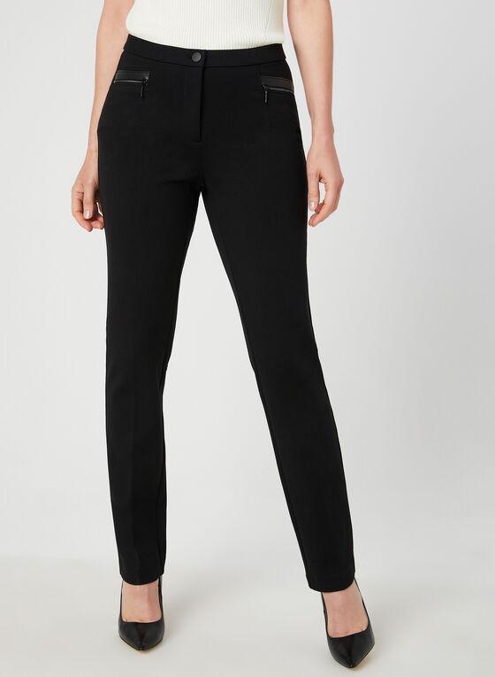 Pantalon coupe signature à détails similicuir, Noir, hi-res