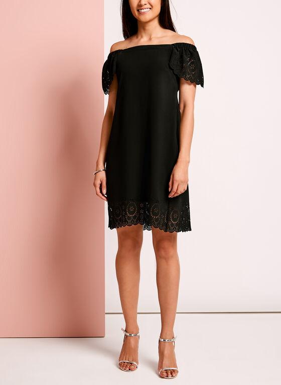 Laser Cut Crepe Shift Dress, Black, hi-res