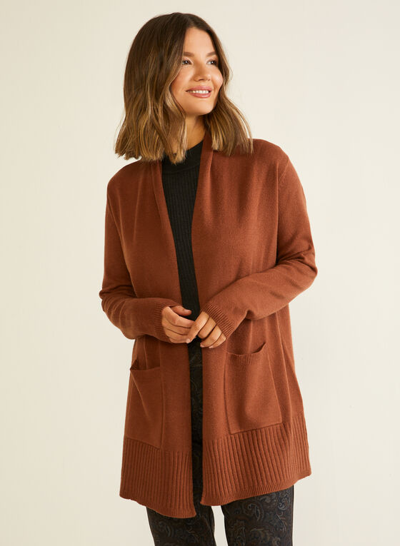 Mid Length Cardigan With Pockets, Brown