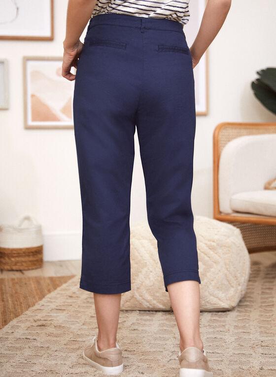 Cotton Straight Leg Capris , Blue