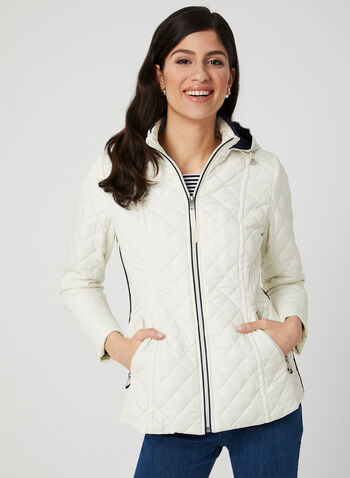 Novelti - Lightweight Quilted Coat, Grey, hi-res,  Spring 2019, long sleeves, quilted, reflective technology, removable hood