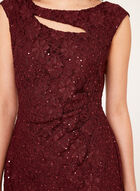 Sleeveless Lace Sequin Dress, Red, hi-res