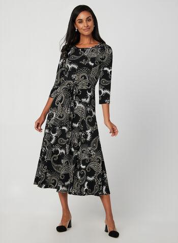 Paisley Print Jersey Maxi Dress, Black, hi-res,  paisley, maxi dress, 3/4 sleeves, fit and flare, fall 2019, winter 2019