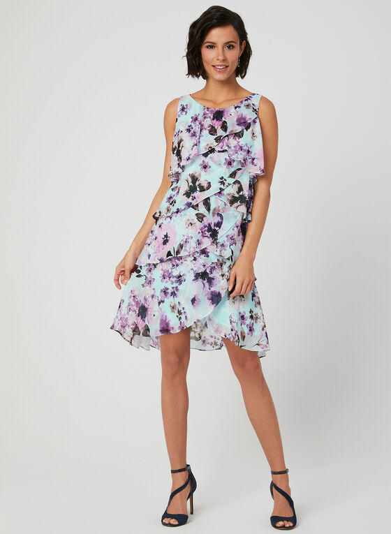 Floral Print Tiered Dress, Blue, hi-res