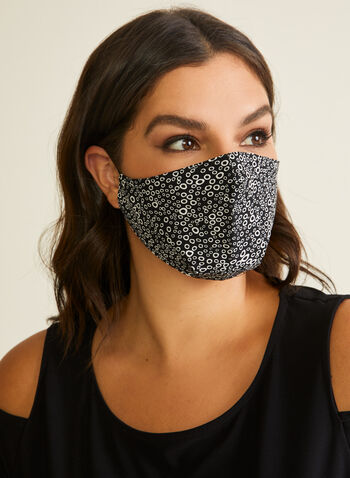 Pin Point - Circle Print Mask, Black,  mask, protective, reusable, washable, breathable, comfortable, spring summer 2020