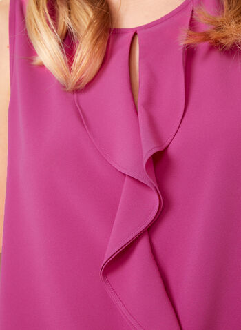 Sleeveless Ruffled Front Blouse, Pink, hi-res