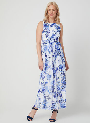 Jessica Howard – Chiffon Maxi Dress, White, hi-res,  floral print dress, long dress, chiffon dress, spring summer 2019, petite maxi dress, petite dress, day dress, petite day dress