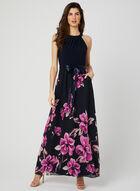Robe maxi avec jupe fleurie, Bleu, hi-res