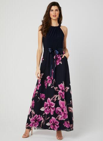 Robe maxi avec jupe fleurie, Bleu, hi-res,  mousseline, col cléopâtre, sans manches, ruban, printemps 2019