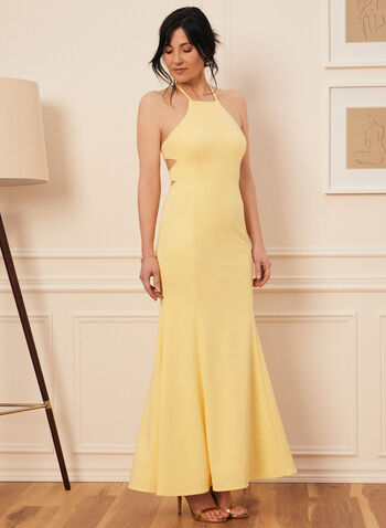 Crepe Mermaid Dress, Yellow,  prom dress, mermaid, gown, crepe, open back, tie, crinoline, spaghetti straps, apron neck, crisscross, spring summer 2020