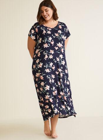 Long Floral Print Nightgown, Blue,  fall winter 2020, nightgown, nightshirt, pj, pyjama, sleepwear, comfort, stretch, floral print, short sleeve