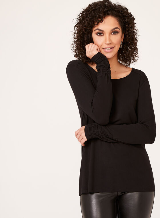 Ruched Cuff Long Sleeve Top, Black, hi-res