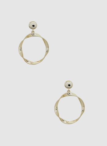 Twisted Hoop Earrings, Gold, hi-res,  earrings, hoops, spring 2019