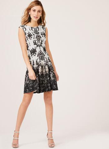 Cap Sleeve Scroll Print Dress, Black, hi-res