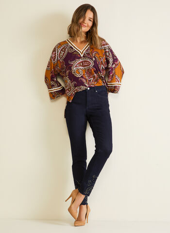 Paisley Print Tunic, Yellow,  top, tunic, high low, paisley, v-neck, fall winter 2020