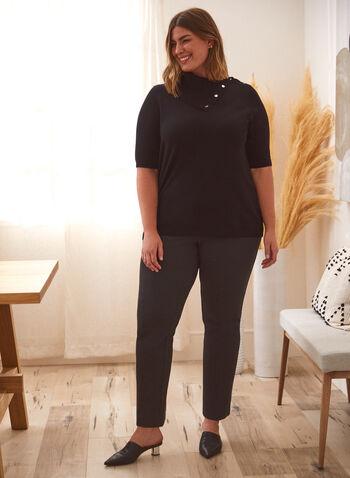 T-shirt à col fendu et boutons décoratifs, Noir,  haut, t-shirt, col fendu, manches courtes, boutons décoratifs, automne hiver 2021, basique