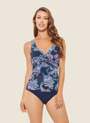 Christina - Paisley Print Tankini With Bottom, Blue,  swimsuit, swimwear, two-piece, tankini, paisley print, monochrome, adjustable straps, spring summer 2020