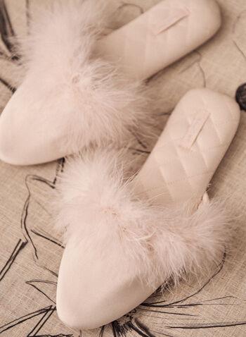Pantoufles en satin avec détail en faux marabout, Rose,  accessoires, pantoufles, mule, matelassé, satin, fausse fourrure, printemps été 2021