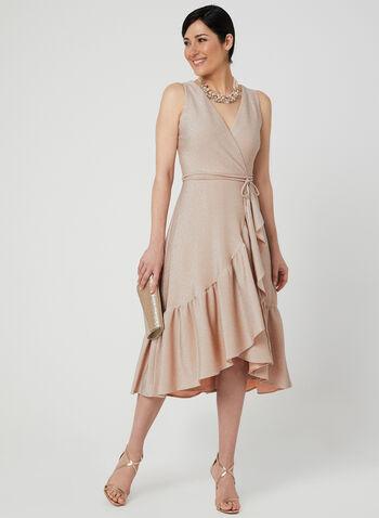 Jersey Glitter Dress, Pink, hi-res,  cocktail dress, sleeveless, glitter, exposed zipper, high-low hem, spring 2019