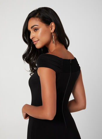 Off-the-Shoulder Jersey Dress, Black, hi-res,  jersey fabric, flared skirt, off-the-shoulder, zipper in the back, sweetheart neckline, fall 2019, winter 2019