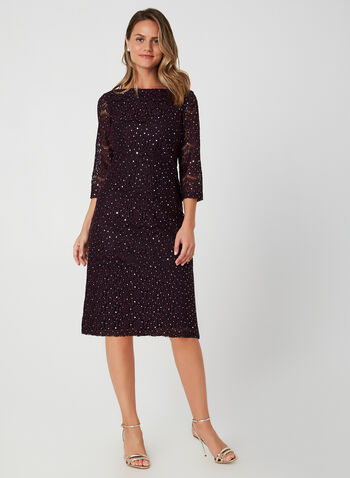 Lace Shift Dress, Purple, hi-res,  cocktail dress, sheath, 3/4 sleeves, lace, sequins, fall 2019, winter 2019