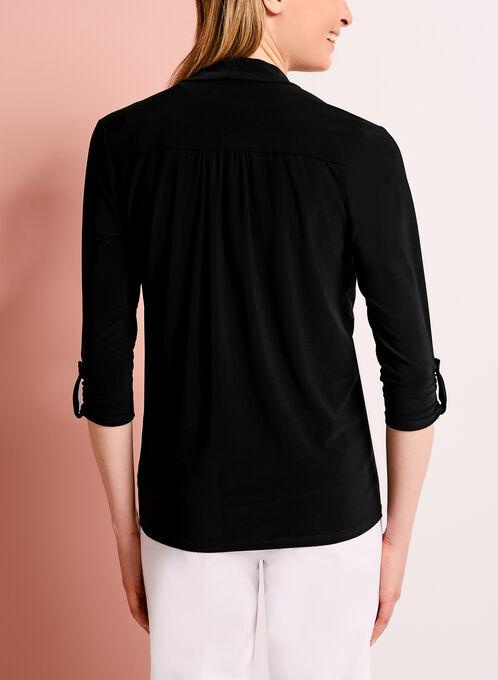 Cardigan manches 3/4 en jersey, Noir, hi-res