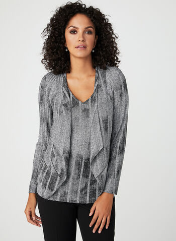 Vex - Rib Knit Open Front Top, Grey, hi-res