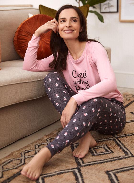 Wine Print Pyjama Set, Pink