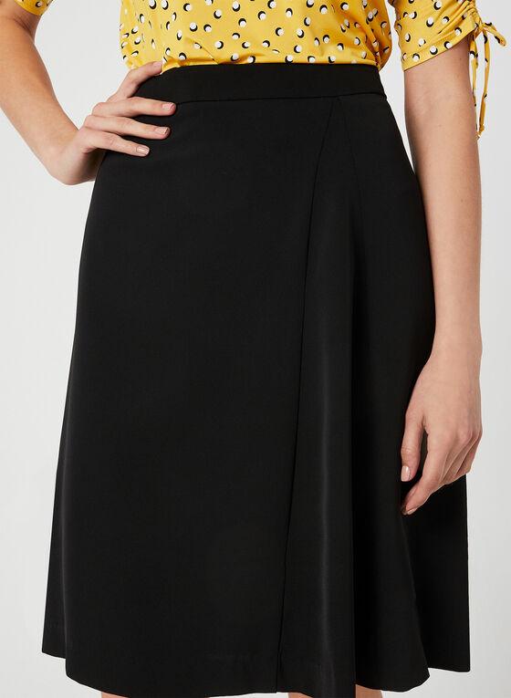 Jupe trapèze à détail plissé, Noir, hi-res