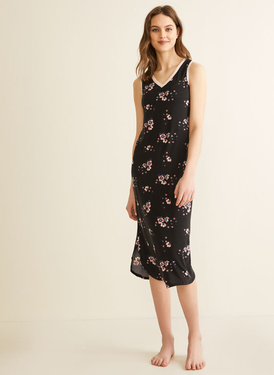 Comfort & Co. - Floral Print Nightgown, Black