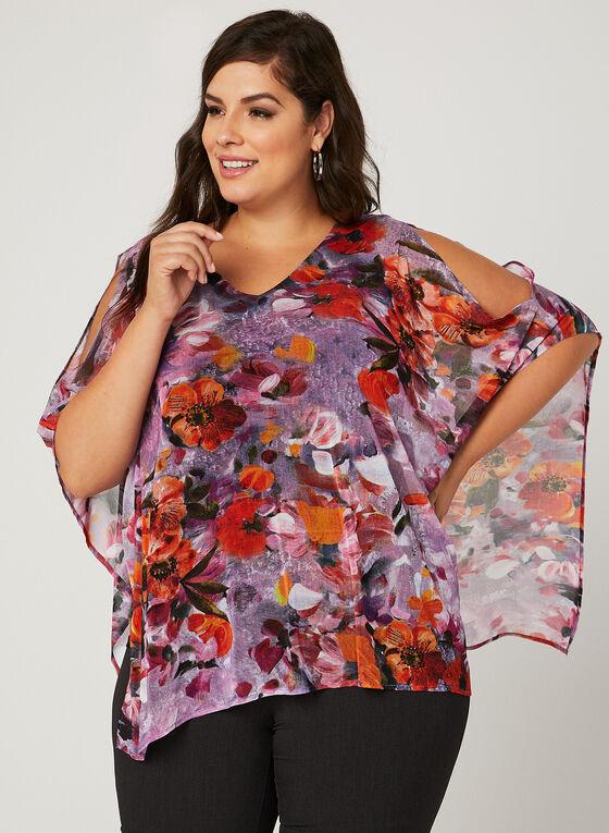 Floral Print Mesh Poncho Top, Multi, hi-res