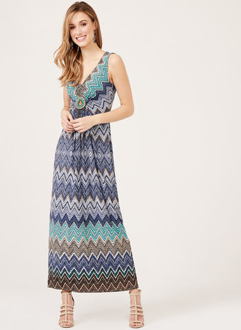 Chevron Print Maxi Dress, Blue, hi-res