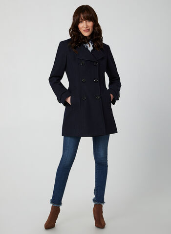 Anne Klein - Medium-Length Wool Coat, Blue,  coat, notched collar, long sleeves, discreet pockets, wool-blend, shoulder pads, Anne Klein, fall 2019, winter 2019