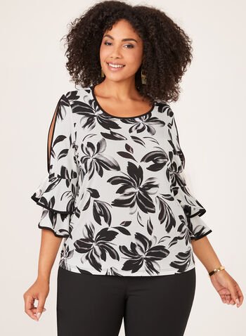 Ruffle Bell Sleeve Top, White, hi-res