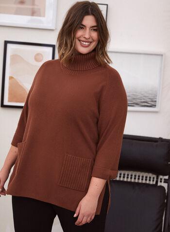 Pull tunique à col roulé , Beige,  chandail, pull, tunique, manches longues, tricot côtelé, col roulé, tricot, automne hiver 2020