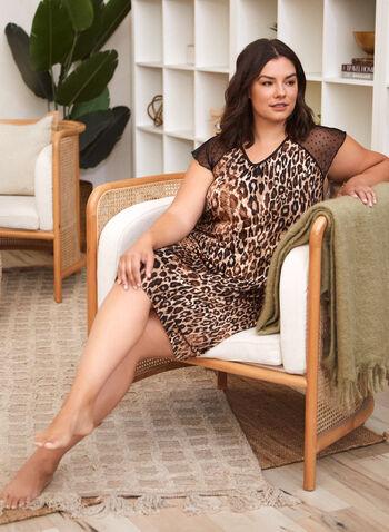 Leopard Print Nightgown , Brown,  fall winter 2021, sleepwear, bedtime, pyjamas, pajamas, nightshirt, Made in Canada, crew neck, scoop neck, boat neck, dotted, animal print, long sleeves,