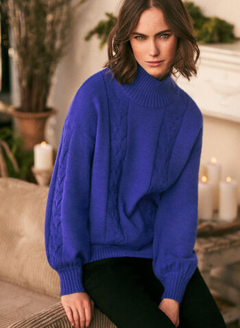 Mock Neck Cable Knit Sweater, Blue,  fall winter 2020, holiday, sweater, mock neck, cable knit, dolman sleeves, puffed sleeves