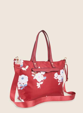 Sac fourre-tout motif floral, Rouge,  sac à main, fourre-tout, fleur, zip, printemps été 2020
