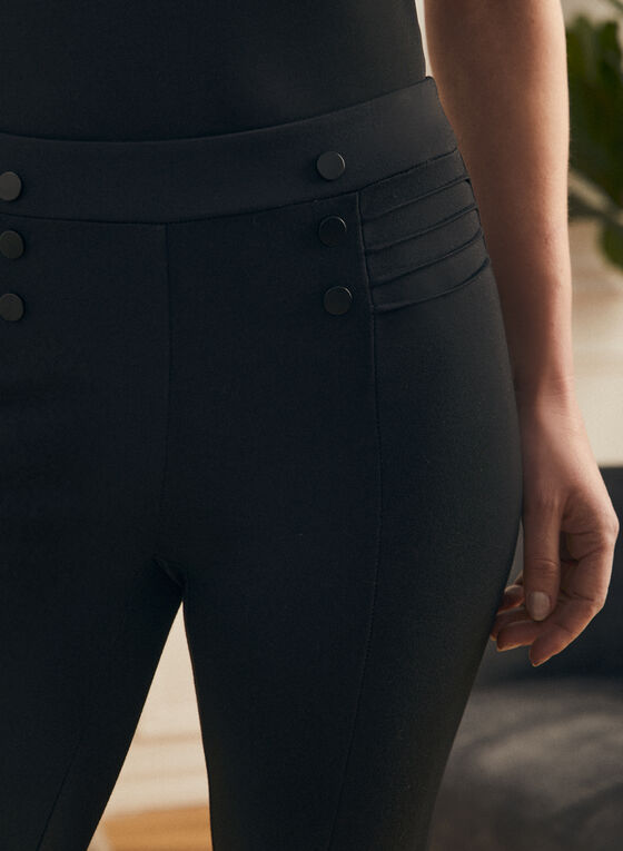 Button & Rib Detail Leggings, Black