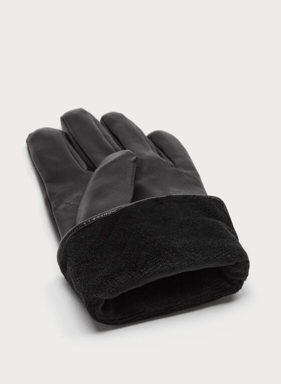 Gants en cuir surpiqué, Noir, hi-res