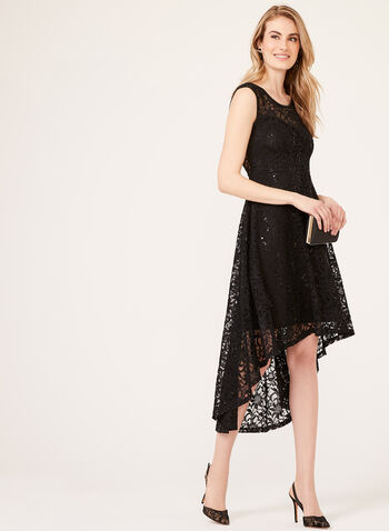 Illusion Neckline Lace Sequin Dress, Black, hi-res