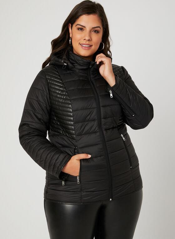 Novelti - Manteau matelassé avec similicuir, Noir, hi-res