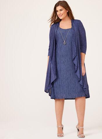 Robe en maille froissée avec cardigan, Bleu, hi-res