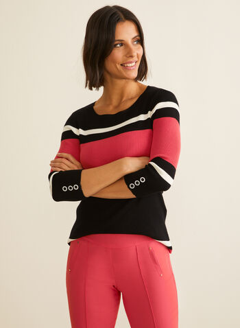3/4 Sleeve Striped Sweater, Red,  sweater, stripes, knit, 3/4 sleeves, crew neck, stretchy, spring summer 2020