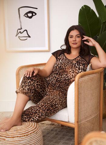 Leopard Print Pyjama Set, Brown,  fall winter 2021, sleepwear, bedtime, pyjama set, pajama set, nightshirt, Made in Canada, crew neck, scoop neck, boat neck, dotted, animal print, long sleeves,