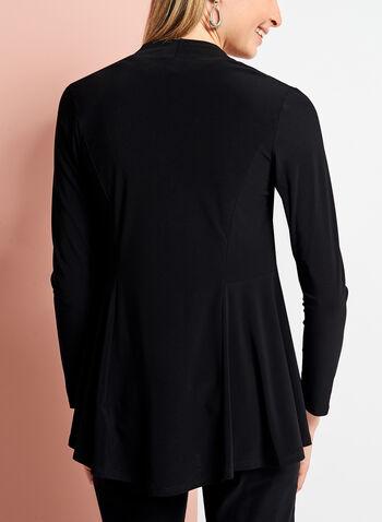 Open Front Peplum Jersey Cardigan, Black, hi-res