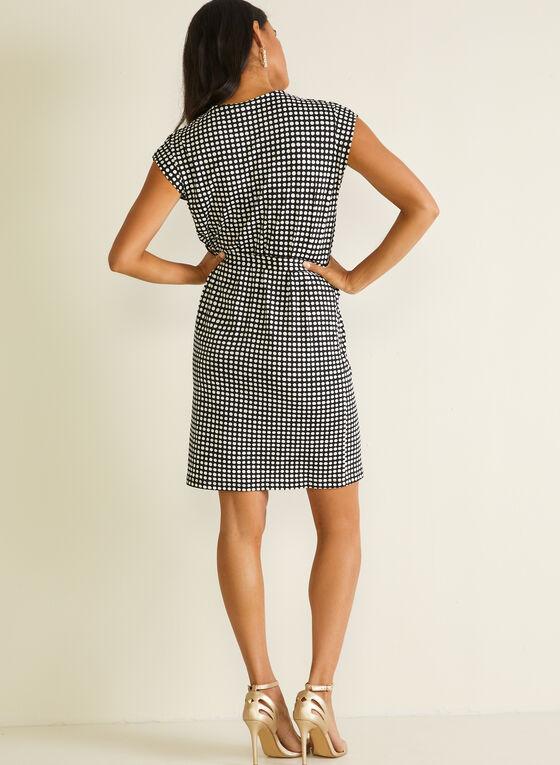 Polka Dot Print Belted Dress, Black