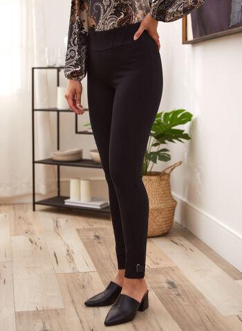 Legging à enfiler et détails œillets , Noir,  pull-on, legging, rabat, oeillet, point de Rome, automne hiver 2020